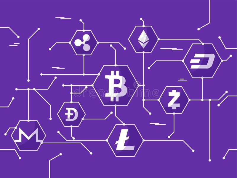 Cryptocurrencies nätverk på purpurfärgad bakgrund vektor illustrationer