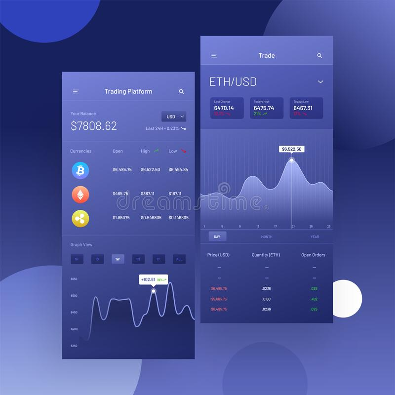Cryptocurrencies trading, and exchange UI or UX concept for Mobile Apps. vector illustration