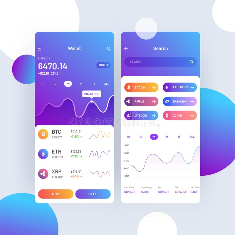 Cryptocurrencies trading, and exchange UI or UX concept for Mobile Apps. royalty free illustration