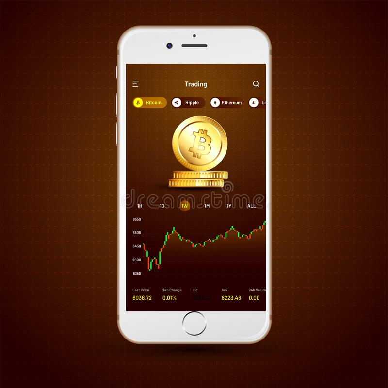 Cryptocurrencies trading, and exchange UI or UX concept for Mobile Apps. stock illustration
