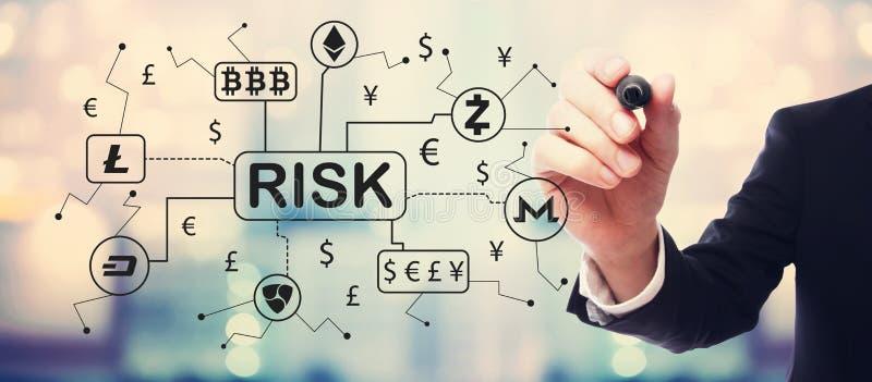 Cryptocurrency与商人的风险题材 皇族释放例证
