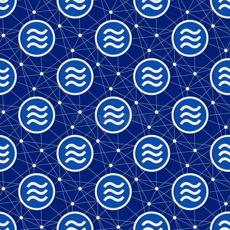 Cryptocurrency与天秤座的硬币背景和连接线 皇族释放例证