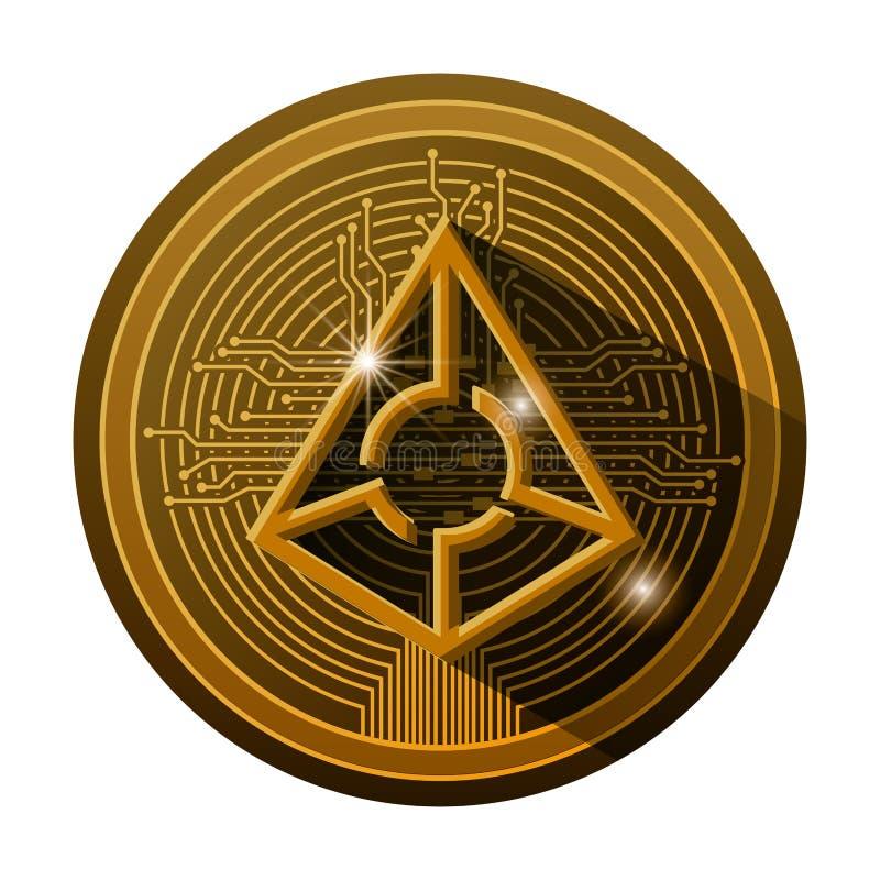 Cryptocurrency与电路线的占卜师硬币 向量例证