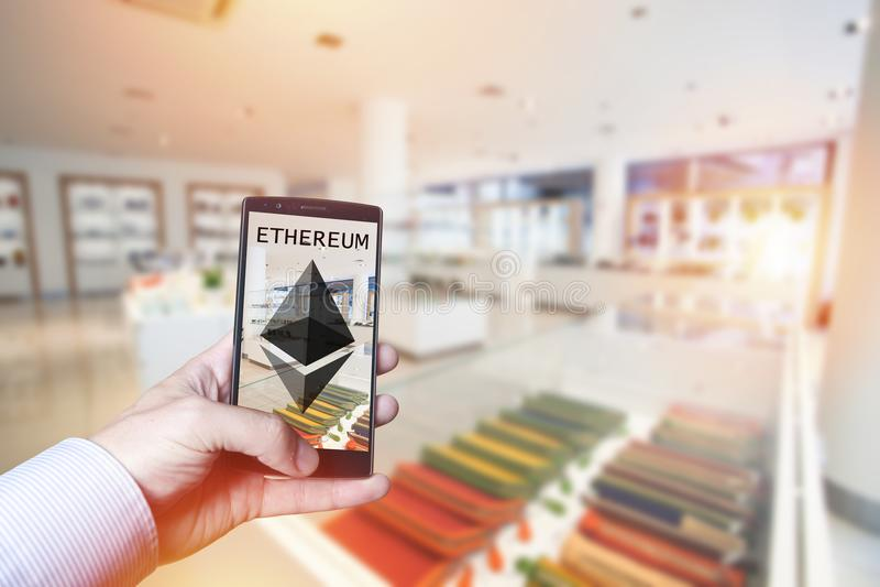 Cryptocurrency与Ethereum的付款概念 免版税库存图片