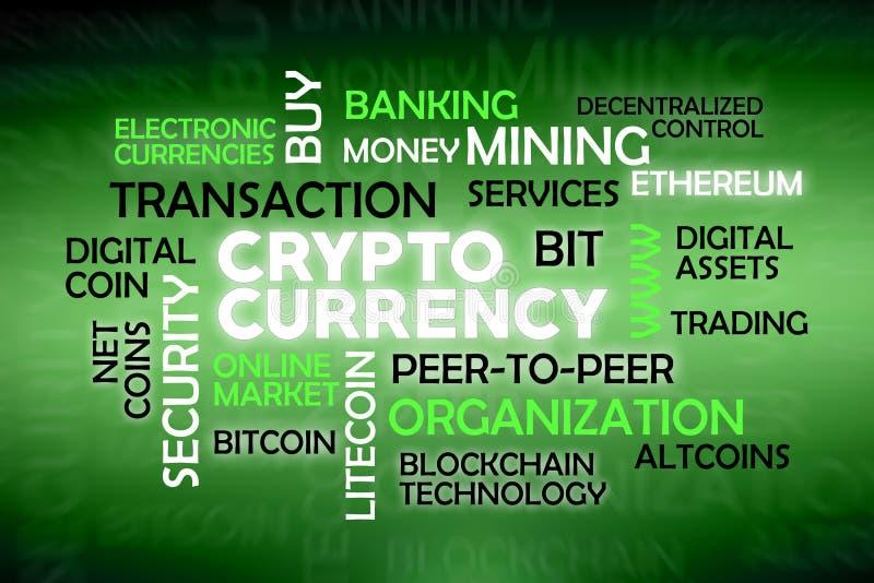 Cryptocurrency云彩标记 皇族释放例证