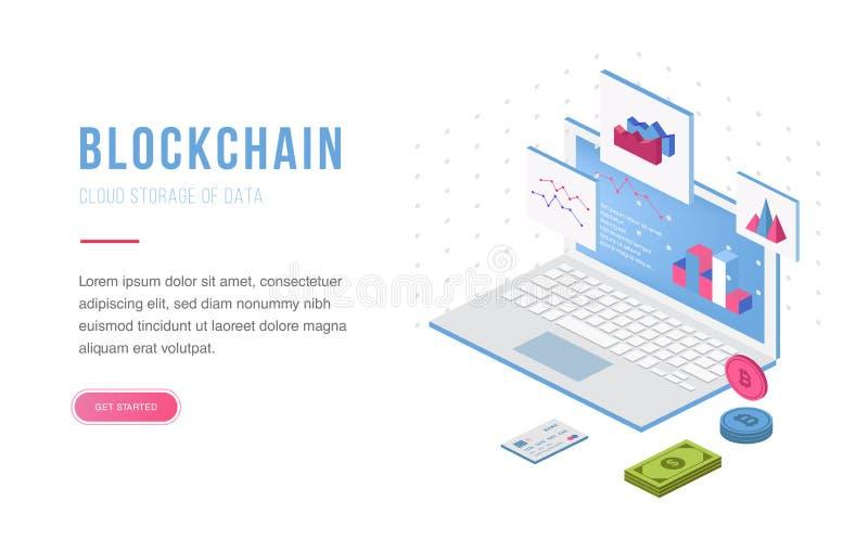 Cryptocurrency交换和blockchain等量构成 有益于登陆页模板和infographics传染媒介 向量例证