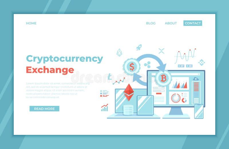Cryptocurrency交换和Blockchain Bitcoin,Ethereum,XRP,EOS,星,对美元外汇平台的Litecoin 金融市场 库存例证