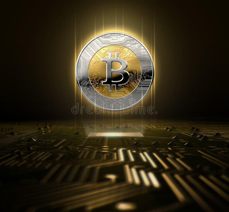 Cryptocurrency全息图和电路板 库存例证