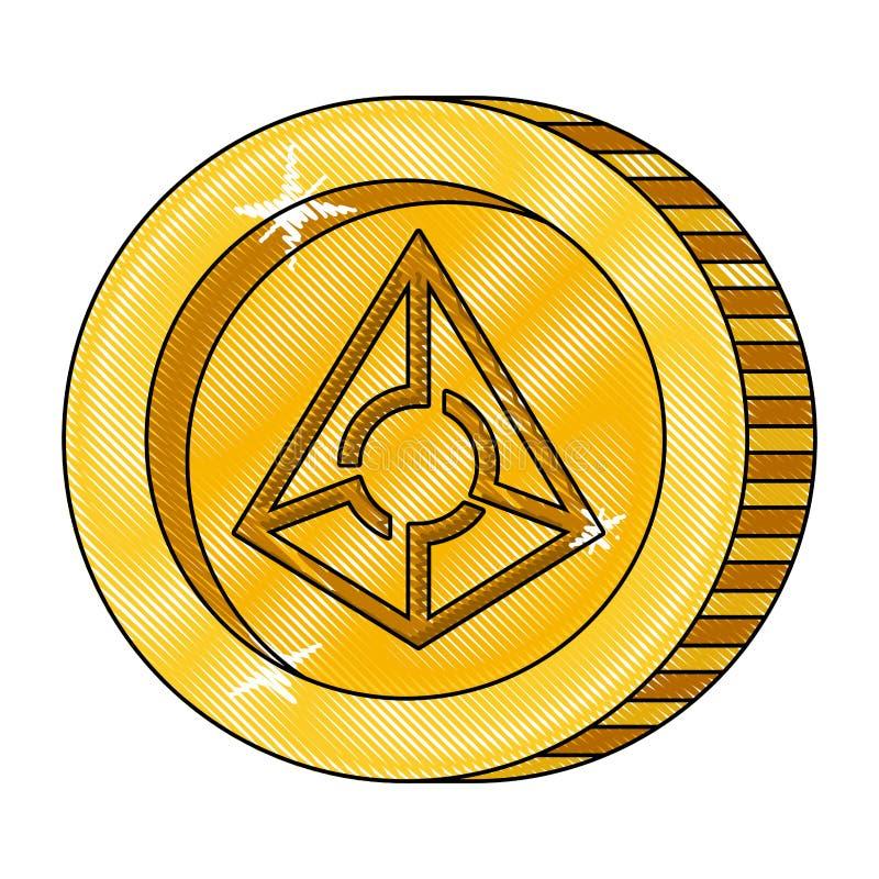Cryptocurrency占卜师硬币被隔绝的象 库存例证