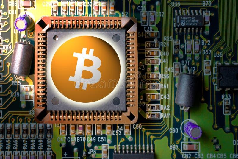 cryptocurrency和blockchain -财政技术和互联网金钱电路板采矿和硬币- bitcoin BTC 图库摄影