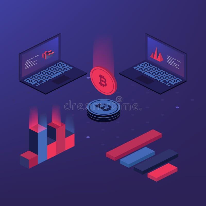 Cryptocurrency和blockchain Bitcoin采矿农场 创造数字式货币 登陆的页、网络设计、横幅和PR的概念 库存例证