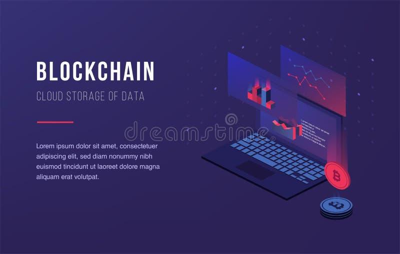 Cryptocurrency和blockchain Bitcoin采矿农场 创造数字式货币 登陆的页、网络设计、横幅和PR的概念 皇族释放例证
