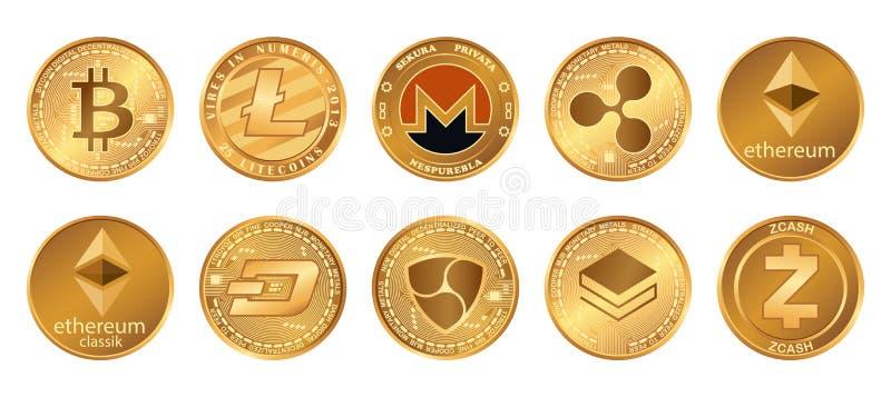 Cryptocurrency商标设置了- bitcoin, litecoin, ethereum, ethereum经典之作, monero,波纹, zcash破折号stratis nem 金黄 库存例证