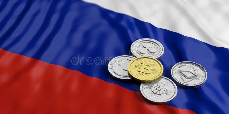 Cryptocurrency在俄罗斯 银色真正硬币金黄bitcoin和品种在俄罗斯的下垂背景 3d例证 皇族释放例证