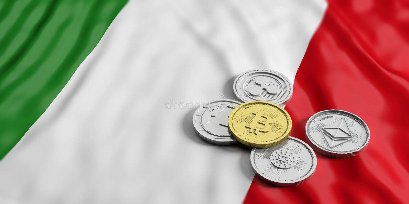Cryptocurrency在意大利 银色真正硬币金黄bitcoin和品种在意大利的下垂背景 3d例证 皇族释放例证