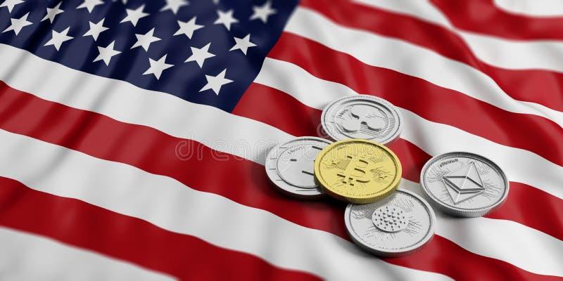 Cryptocurrency在西班牙 银色真正硬币金黄bitcoin和品种在美国美国的下垂背景 3d例证 向量例证