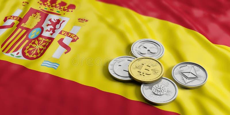Cryptocurrency在西班牙 银色真正硬币金黄bitcoin和品种在西班牙的下垂背景 3d例证 向量例证