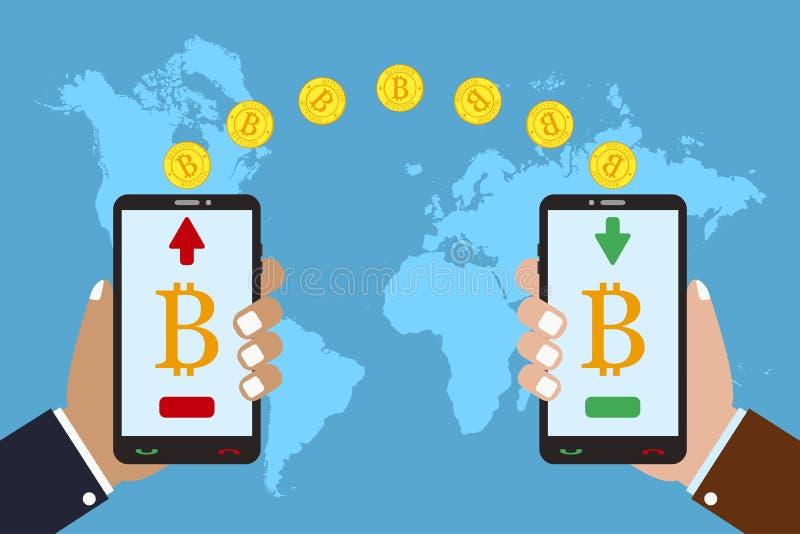 cryptocurrency技术的概念 Bitcoin交换和调动在世界地图背景 传染媒介现代平的例证 库存例证