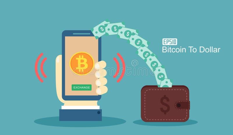 cryptocurrency技术, bitcoin交换, bitcoin采矿,流动银行业务的平的现代设计概念 举行流动pho的手 皇族释放例证