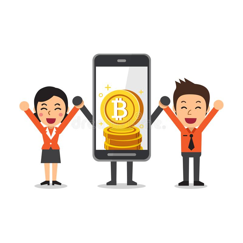 Cryptocurrency概念动画片智能手机挣钱的帮助商人和女实业家 库存例证