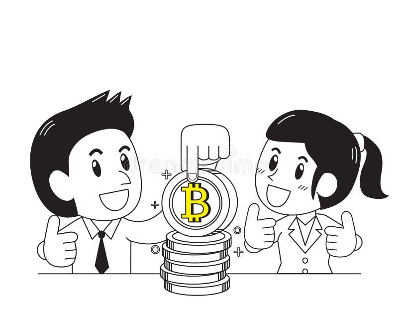 Cryptocurrency概念商人和女实业家有大硬币的 库存例证