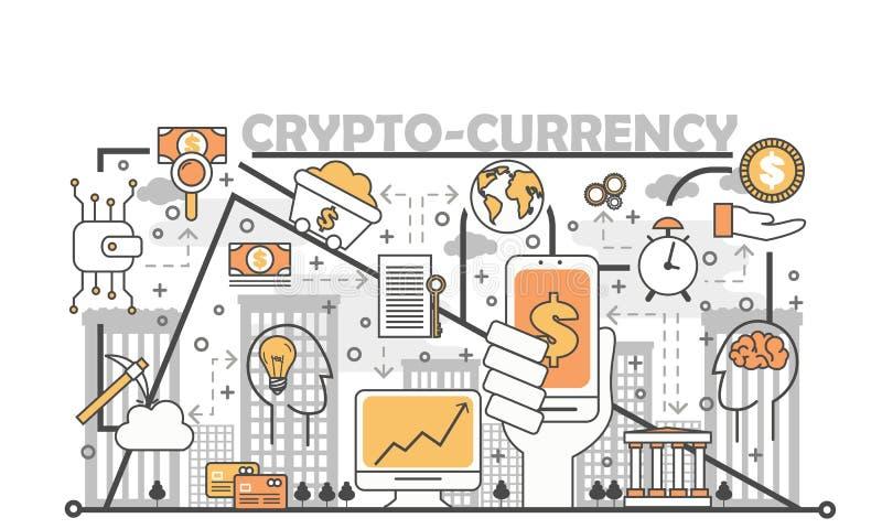 Cryptocurrency概念在平的线性样式的传染媒介例证 向量例证