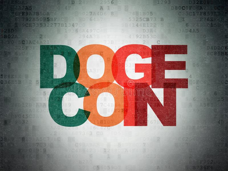 Cryptocurrency概念:在数字资料纸背景的Dogecoin 免版税库存图片