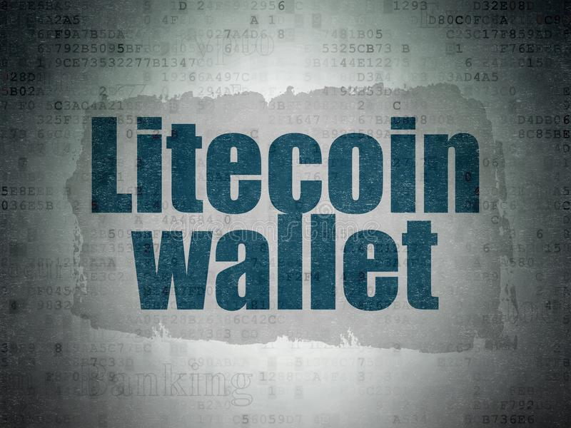 Cryptocurrency概念:在数字资料纸背景的Litecoin钱包 库存图片