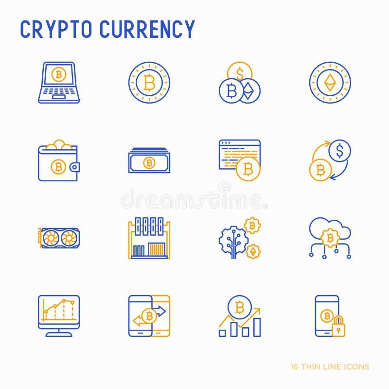 Cryptocurrency稀薄的线被设置的象 皇族释放例证