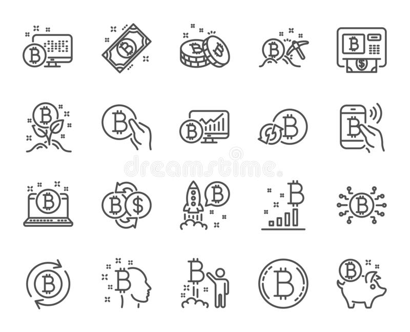 Cryptocurrency线象 套Blockchain,隐藏ICO开始和Bitcoin 向量 库存例证