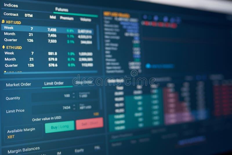 Cryptocurrency贸易的题材 库存图片