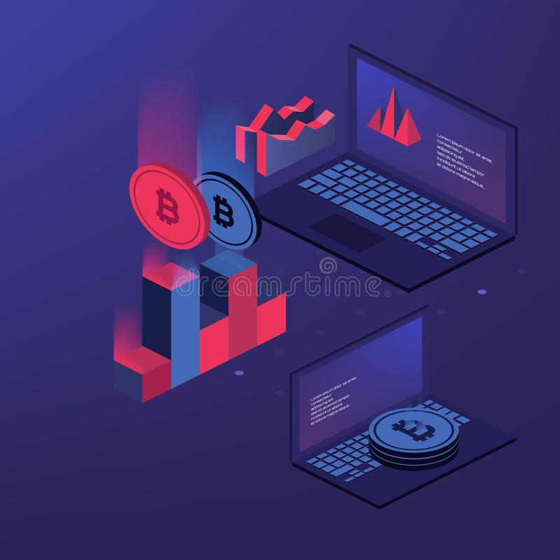 Cryptocurrency και blockchain Αγρόκτημα μεταλλείας Bitcoin Δημιουργία του ψηφιακού νομίσματος Έννοια για προσγειωμένος, το σχέδιο ελεύθερη απεικόνιση δικαιώματος