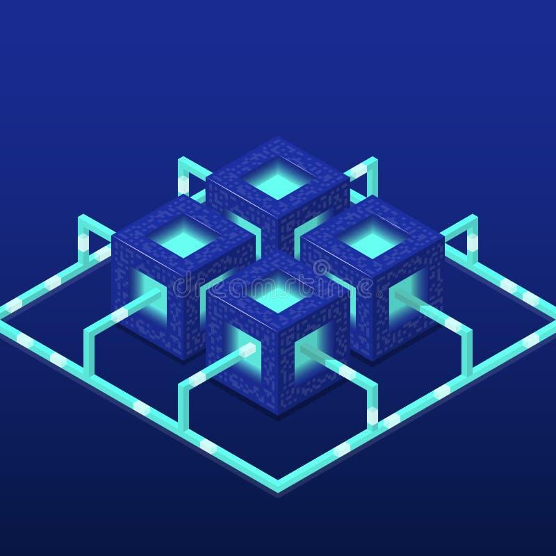 Cryptocurrency και blockchain isometric διανυσματική σύνθεση με τους φραγμούς EPS10 απεικόνιση αποθεμάτων