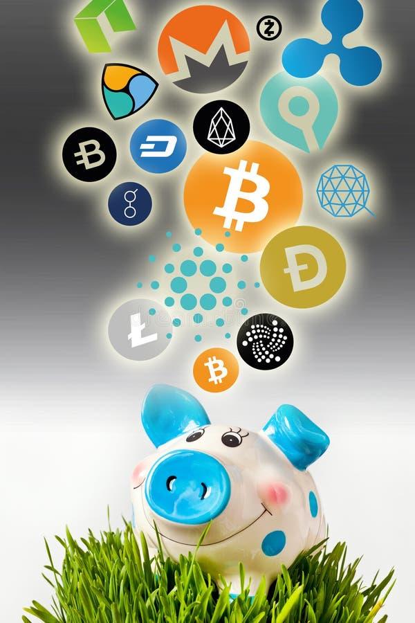 Cryptocurrency - οικονομική τεχνολογία και χρήματα Διαδικτύου - piggy σημάδια τραπεζών και νομισμάτων διανυσματική απεικόνιση