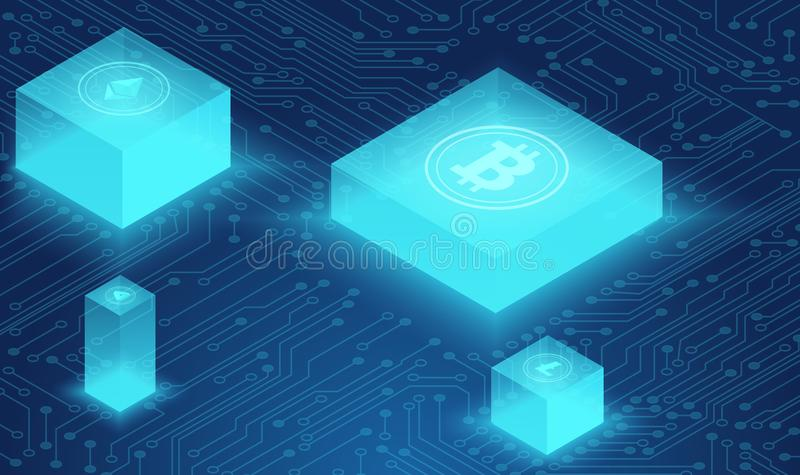 Cryptocurrency и концепция blockchain, нервная система, центр данных приведенный в действие, вектор хранения данных облака равнов иллюстрация штока