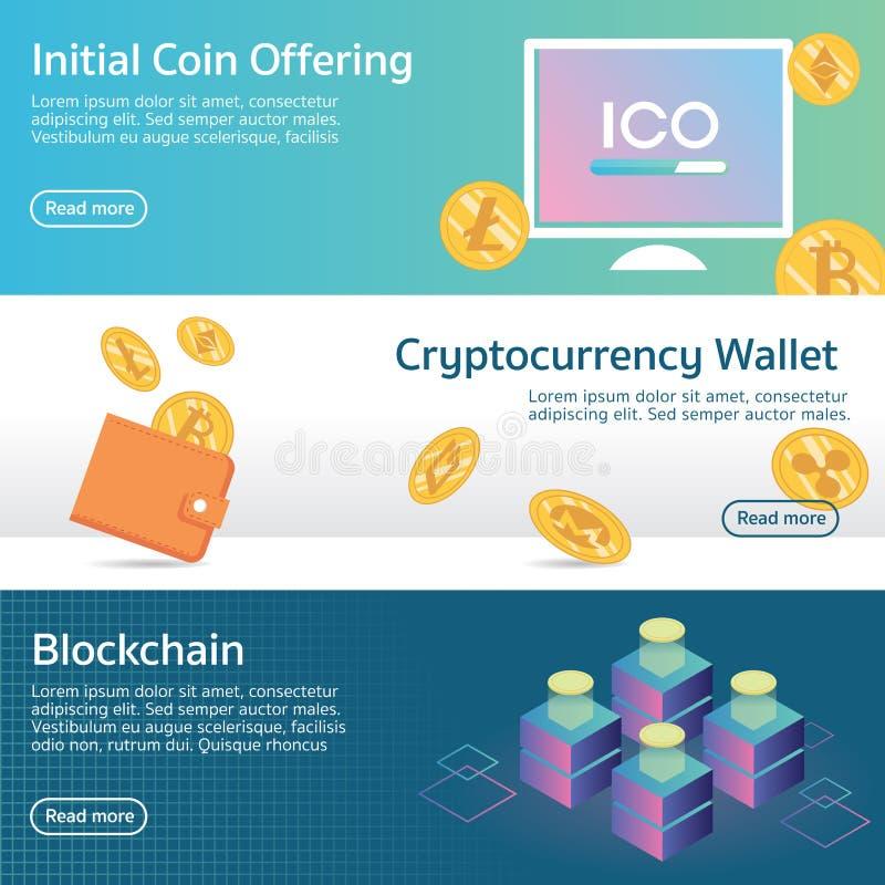 Cryptocurrency начальной монетки предлагая установленный вектор знамени стоковые фотографии rf