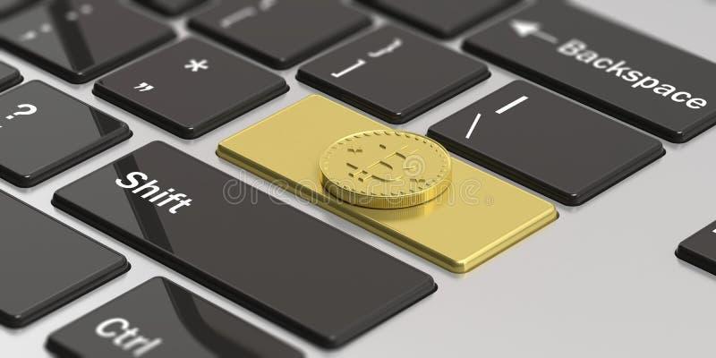 Cryptocurrency 金黄bitcoin键盘的输入键 3d例证 库存例证