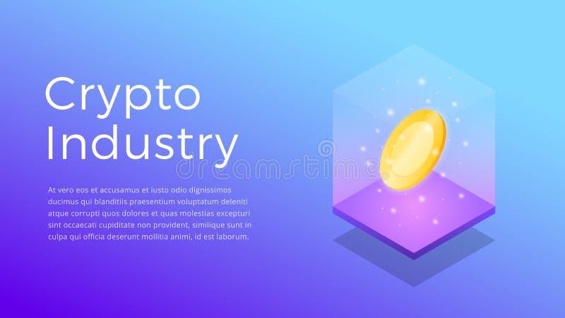 Cryptocurrency 隐藏产业的等量例证 隐藏采矿业概念 向量例证