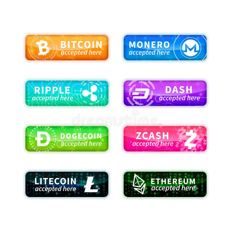 Cryptocurrency accepted here, large set of glossy emblems with most common currency signs on white royalty free illustration