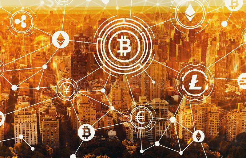Cryptocurrency with aerial view of NY skyline. Cryptocurrency with aerial view of Manhattan, NY skyline stock illustration