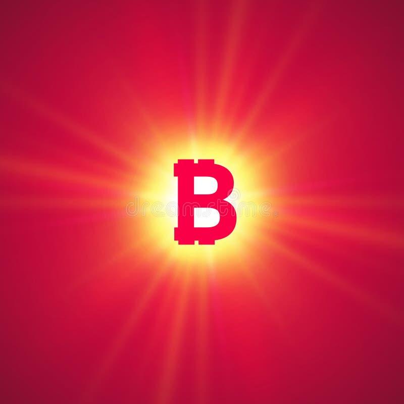 Cryptocurrency anaranjado del bitcoin en los rayos brillantes en un fondo rosado stock de ilustración