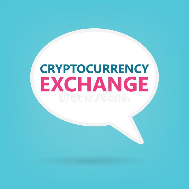 Cryptocurrency-Austausch auf einer Spracheblase lizenzfreie abbildung