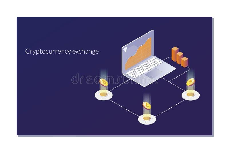 Cryptocurrency-Austausch und blockchain isometrische Zusammensetzung Die Analytiker und Manager, die an Schlüssel arbeiten, begin lizenzfreie abbildung
