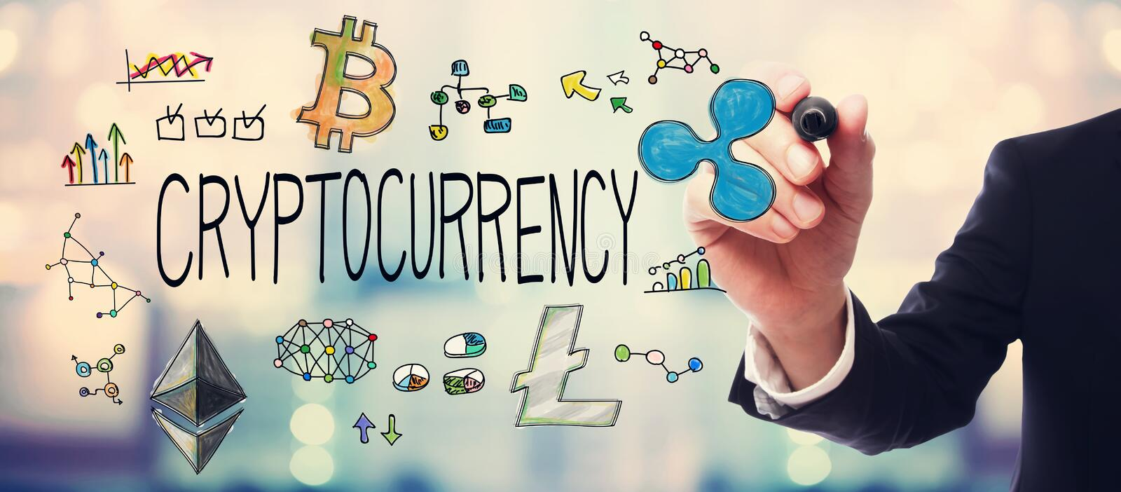 Cryptocurrency avec l'homme d'affaires photo stock