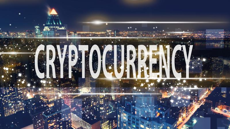 Cryptocurrency avec l'horizon de New York City photo libre de droits