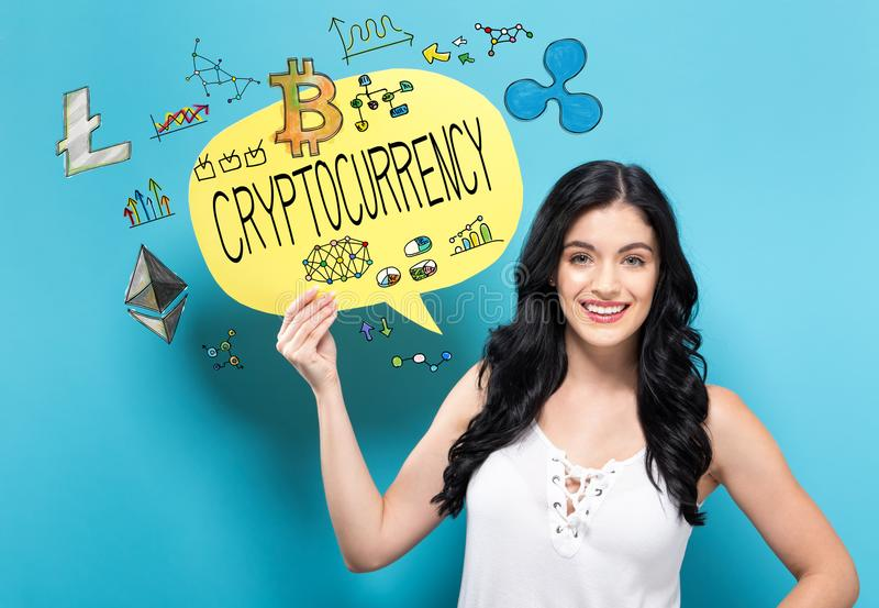 Cryptocurrency avec la femme tenant une bulle de la parole photo stock