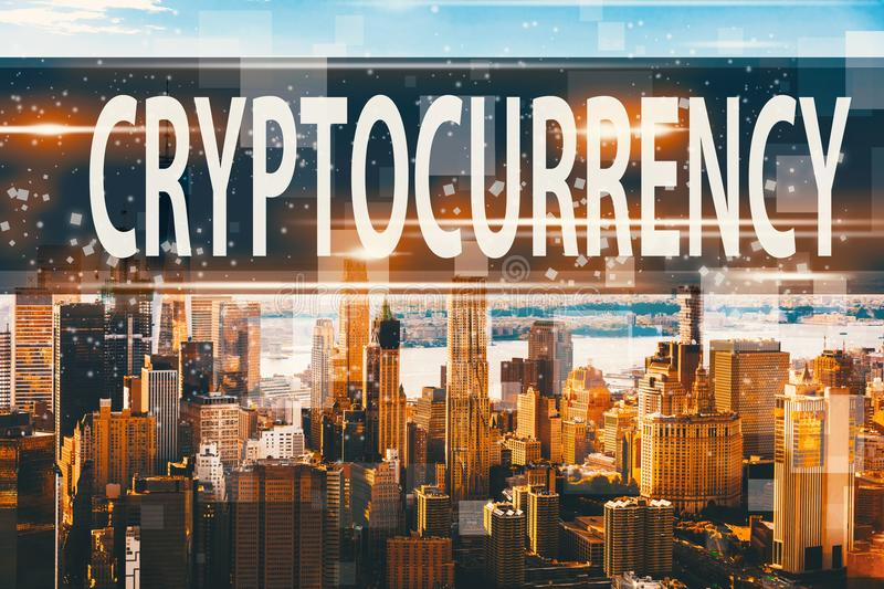 Cryptocurrency avec Manhattan, NY illustration de vecteur