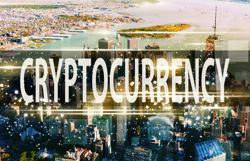 Cryptocurrency avec Manhattan, NY photos libres de droits