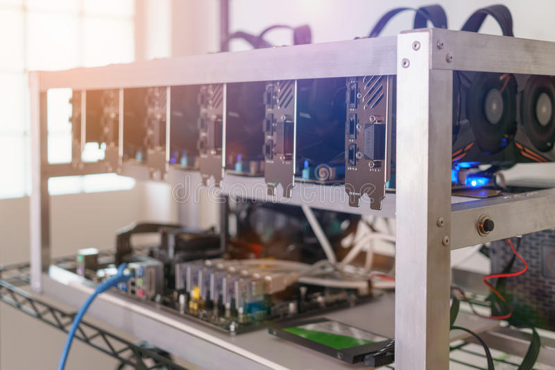 Cryptocurrency background mining rig, Cryptocurrency mining ri royalty free stock photo