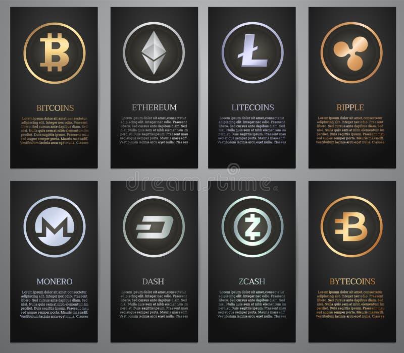 Cryptocurrency, bandeira preta ilustração stock